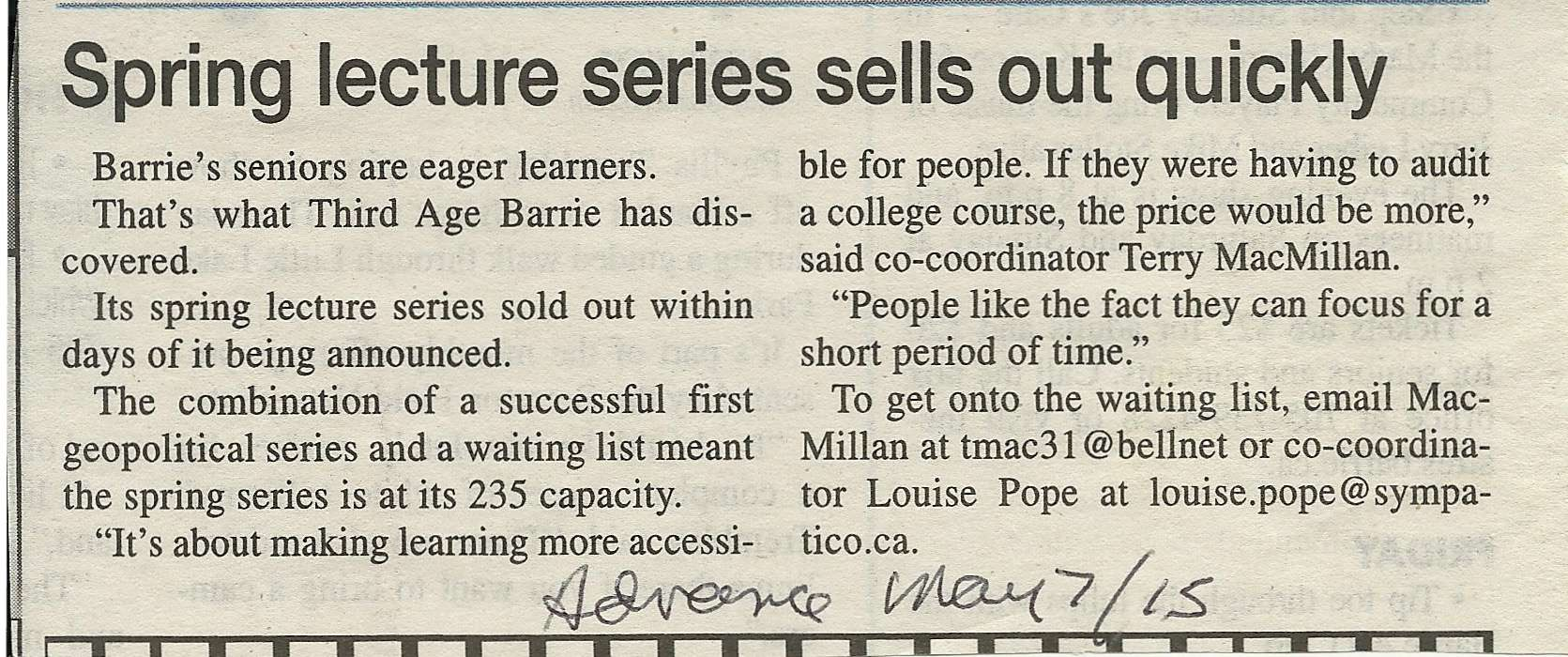 Barrie Examiner, May 7, 2015